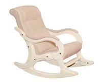 Beige textiel geïsoleerde schommelstoel Royalty-vrije Stock Afbeelding