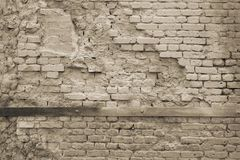 Beige texture of the destroyed brick wall Royalty Free Stock Photography