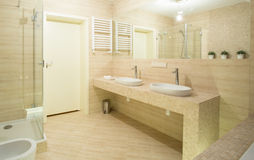 Beige toilet interior Royalty Free Stock Photography