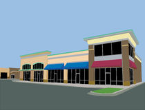 Beige toned strip mall royalty free illustration