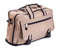 Beige travel bag Stock Photos