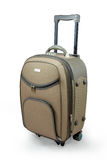 Beige travel suitcase Stock Photo