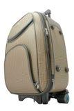 Beige travel suitcase Stock Photo