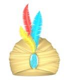 Beige tulband met veren Stock Afbeeldingen