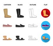 Beige ugg boots with fur, brown loafers with a white sole, sandals with a fastener, white and blue sneakers. Shoes set. Collection icons in cartoon,black Stock Image