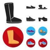 Beige ugglaarzen met bont, bruine leeglopers met een witte zool, sandals met bevestigingsmiddel, witte en blauwe tennisschoenen G stock illustratie
