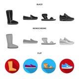 Beige ugglaarzen met bont, bruine leeglopers met een witte zool, sandals met bevestigingsmiddel, witte en blauwe tennisschoenen G royalty-vrije illustratie