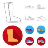 Beige ugglaarzen met bont, bruine leeglopers met een witte zool, sandals met bevestigingsmiddel, witte en blauwe tennisschoenen G vector illustratie