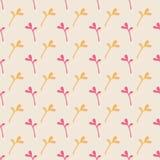 Beige Uitstekend Naadloos Patroon met Roze en Oranje Bloemenelementen Stock Afbeelding