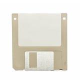 Beige uitstekende diskette op wit Stock Foto's