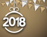Beige una carta da 2018 nuovi anni Fotografia Stock