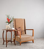 Beige upholstered chair Stock Photos