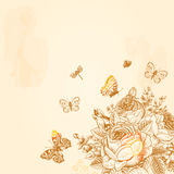 Beige Vintage  background. With a bouquet of flowers and butterflies. Illustration Royalty Free Stock Images