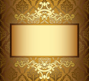 Beige vintage card with golden frame Royalty Free Stock Images
