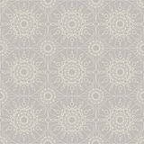Beige vintage lace, seamless ornament. Vector. Beige vintage lace on grey background, seamless abstract ornament for your design. Vector illustration Stock Photos