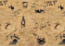 Beige London grunge background. Beige vintage newspaper London background. Texture with hand drawn symbols of England. Big Ben Westminster Bridge Tower Thames Royalty Free Stock Photos