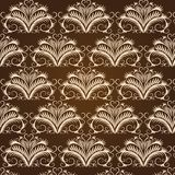 Beige vintage pattern on a brown background. Curves lines (seamless texture Royalty Free Illustration