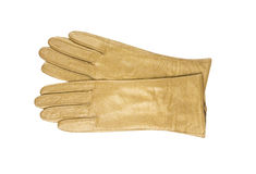 De beige handschoen van de leervrouw die op witte backgr wordt geïsoleerde Royalty-vrije Stock Afbeeldingen
