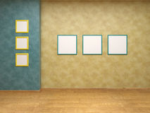 Beige wall with blue frames Stock Image
