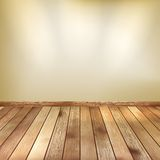 Beige wall with spot lights wooden floor. EPS 10. Empty beige wall with spot lights and wooden floor. EPS 10 Royalty Free Stock Photography