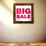 Beige wall wooden floor with Big sale frame. Stock Photography