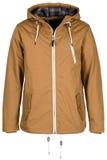 Beige warm jacket. Isolated on white background royalty free stock photo