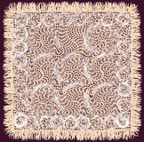Beige weave lacy square serviette with fringe Royalty Free Stock Photos