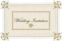 Beige Wedding Invitation. Classic wedding invitation in two shades of beige, intricate elements, and fancy frame Stock Photo
