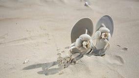 Beige weibliche FlipflopFlipflops beschuht Stiefel auf dem sandigen Strand Krasnodar Gegend, Katya stock video footage
