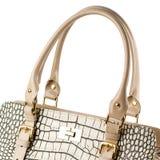 Beige weibliche Handtasche lokalisiert auf weißem Hintergrund Stockfoto