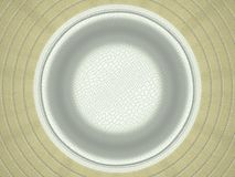 Beige and white stitched circle shape on leather. Large resolution Stock Images
