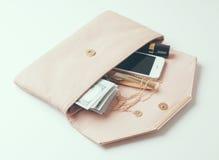 Beige woman's clutch handbag Royalty Free Stock Photos