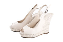 Beige woman's shoes Royalty Free Stock Image