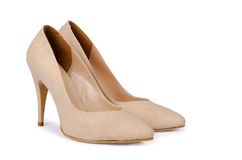 Beige Woman Shoes On A White Royalty Free Stock Photo