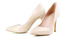 Beige women's high-heeled shoes Royalty Free Stock Photos