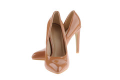 Beige women shoes Royalty Free Stock Images