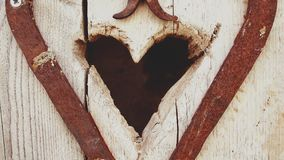 Beige Wooden Heart Hole Royalty Free Stock Images