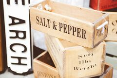 Beige Wooden Salt & Pepper Container Royalty Free Stock Image