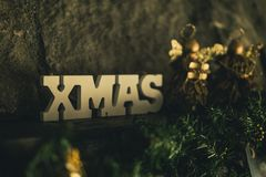 Beige Wooden Xmas Cutout Sign Royalty Free Stock Photo
