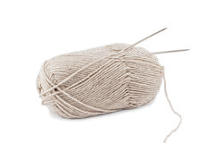 Beige wool yarn ball and spoke Stock Photos