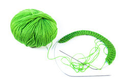 Beige wool yarn ball and spoke Royalty Free Stock Photos