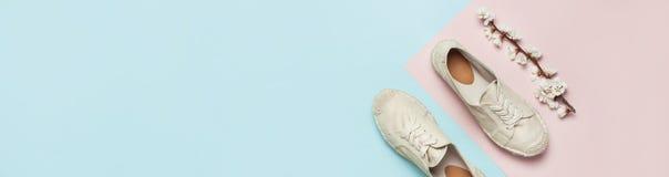 Beigea innegrejkvinnors espadrilles med v?rblomningfilialen p? pastellf?rgad bl? rosa bakgrund f?r f?rg Id?rikt begrepp av arkivfoto