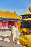 BEIGING, CHINA- MAY 18, 2015 : Copper bowl  inside territory of Royalty Free Stock Photo