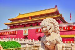 BEIGING,CHINA- MAY 18, 2015: Gate of Heavenly Peace- peoples on stock images