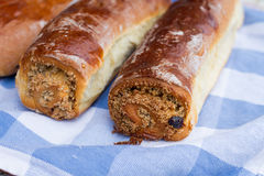 Beigli rolls, hungarian food with poppy seed and walnut Stock Photos