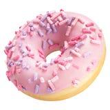 Beignet avec le lustre rose d'isolement sur le fond blanc Un beignet rose rond photo stock