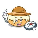 Beignet d'explorateur avec la bande dessinée de mascotte de sucre illustration de vecteur