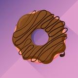 Beignet de chocolat avec le lustre, image plate de vecteur de conception Photo stock