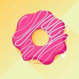 Beignet de fraise avec le lustre Image de vecteur, longue ombre Images libres de droits