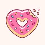 Beignet en forme de coeur illustration de vecteur